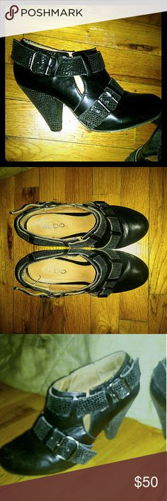 Aldo size 6 women's ankle boots with strap detail Very cute, and not a tall enough heel to be painful! Aldo ankle boots, black , with several snakeskin embossed straps. Gently loved but still has many miles of wear left. Size 36/USA 6. Aldo Shoes Ankle Boots & Booties