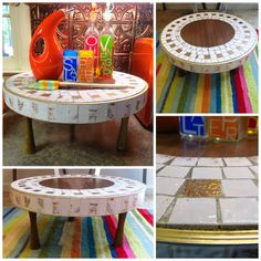 VTG 1960s MID Century Modern Mosaic Art Tile Wood Round Table Stool Trivet Top #Unknown Tile Art, Mosaic Art, Tile Wood, Stool, Chair, Wood Rounds, Mid-century Modern, 1960s, Mid Century