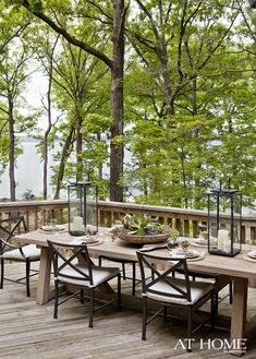 Simple and rustic outdoor dining on the deck.