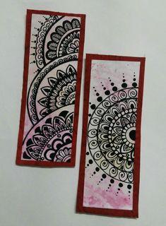 Mandala bookmarks in red and white theme Mandala Book, Mandala Canvas, Mandala Art Lesson, Mandala Artwork, Mandala Painting, Easy Mandala Drawing, Simple Mandala, Art Painting Gallery, Dot Art Painting