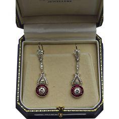 Vintage Art Deco 2.62ctw Diamond .90ctw Red Ruby Halo Platinum Drop Earrings