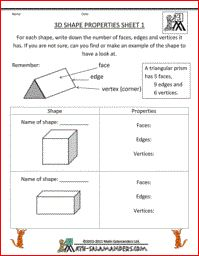 3D Shape properties, a printable 3d geometry worksheet to identify properties of 3d shapes