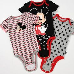 Disney Cuddly Bodysuit™ with Grow-An-Inch-Snaps™ MICKEY MOUSE 3-Pack #disneybaby