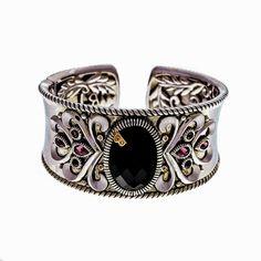 Stylish Bellari Silver 18 Pink Gold Bangle Bracelet Onyx Brown Diamond Garnet