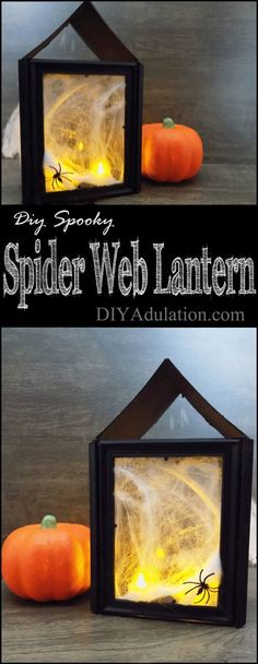 This DIY spooky spider web lantern is so easy to make and budget-friendly you will want to make several different size ones to create a spooky vignette. #ad