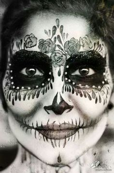 Day of the dead. Sugar skull Face painting.