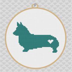 Corgi Silhouette Cross Stitch Pattern. $3.50, via Etsy.