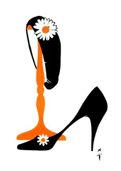 Illustration Vintage - Escarpin et Chapeau - Orange et Noir - René Gruau - années 60