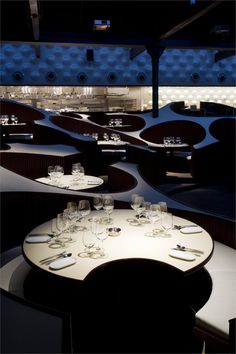 Serie Architects, Fram Petit · Blue Frog Acoustic Lounge and Studios Coffee Shop Interior Design, Italian Interior Design, Coffee Shop Design, Restaurant Interior Design, Commercial Interior Design, Restaurant Interiors, Commercial Interiors, Modern Restaurant, Restaurant Lighting
