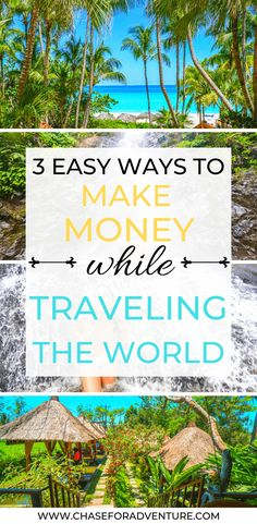 Looking to ways to make money while traveling the world? I've got you, friend! In this guide I teach you 3 easy ways to make money on the side while traveling! If you're looking for digital nomad jobs ideas, or ways that you can get paid to travel, this post covers ways that you can make money online, and help you travel fulltime. Click through to get 50 job ideas right now! #onlineentrepreneur #digitalnomad #fulltimetravel #remotework #workonline