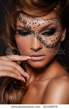 Creative Eye Makeup/mask for Halloween. LOVE this! http://www.shutterstock.com/gallery-730894p1.html#id=81336979