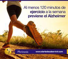 Al menos 120 minutos de ejercicio a la semana previene el Alzheimer Pautas nutricionales y Alzheimer  www.elartedesabervivir.com ¿Cuál de las 7 recomendaciones del artículo pondrías en práctica? Muchos investigadores están trabajando en el tema de la prevención de las enfermedades degenerativas cerebrales teniendo en cuenta nuestra manera de alimentarnos y nuestros hábitos;  y nos dan algunas recomendaciones...Continúa leyendo aquí: http://tfl.vg/1bg1