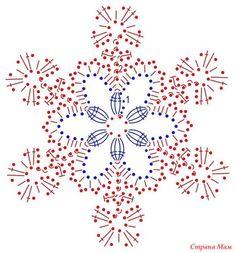 Снежинки крючком, схемы. Большая подборка № 1 - Страна Мам Crochet Snowflake Pattern, Crotchet Patterns, Crochet Snowflakes, Crochet Stitches Patterns, Doily Patterns, Crochet Winter, Holiday Crochet, Crochet Home, Irish Crochet