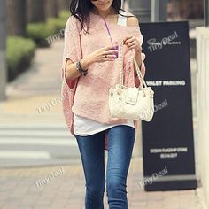 Stylish Boat Neck Pullover Knitwear Knitted Sweater with Batwing Sleeves f Girl Woman NDD-54156