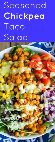 This Seasoned Chickpea Taco Salad with Avocado Ranch is a hearty and filling salad that is perfect for an easy dinner! Healthy, vegan and gluten free! paleo dinner for beginners Taco Salad Recipes, Veggie Recipes, Mexican Food Recipes, Whole Food Recipes, Vegetarian Recipes, Healthy Recipes, Vegetarian Taco Salad, Spinach Recipes, Veggie Taco Salad