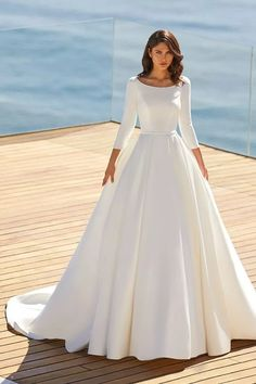 45 Timeless Wedding Dresses for the Classic Bride Modest Wedding Dresses With Sleeves, Princess Wedding Dresses, Dream Wedding Dresses, Bridal Dresses, Dress For Wedding, Timeless Wedding Dresses, Pronovias Wedding Dress, Classic Wedding Dress, Classic Dresses