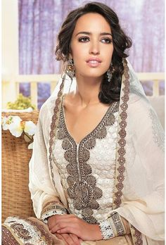Cream Georgette Salwar Kameez with embroidery & cut work