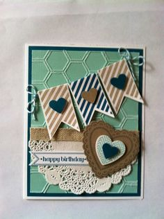 "♥♥♥ this card, featuring the Stampin' Up! ""Hearts A Flutter"" collection."