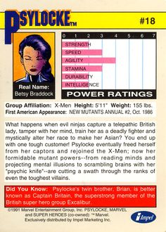 psylocke's problematic origin in marvel trading cards 1991