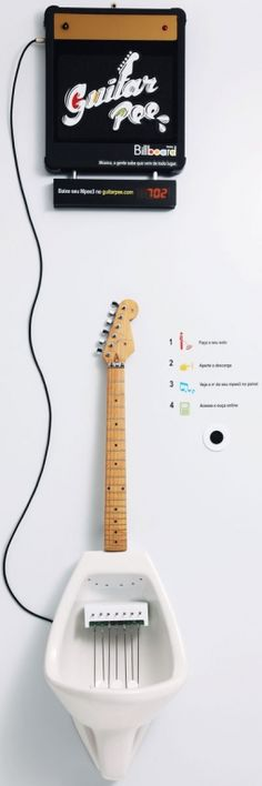 From Billboard magazine--an interactive urinal where you can play guitar while you, ahem, take care of business.
