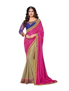 Jacquard & Chiffon Pink & Chiku Saree|Saree|Ethnic Wear