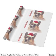 German Shepherd in Santa Hat Holiday Gift Paper Wrapping Paper