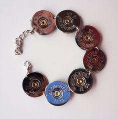 Shot-shell Bracelet - The Well Armed Woman Shotgun Shell Crafts, Shotgun Shell Jewelry, Bullet Jewelry, Jewelry Box, Jewelery, Jewelry Accessories, Jewelry Making, Shotgun Shells, Ammo Jewelry