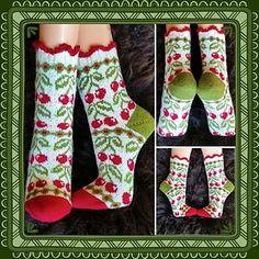Ravelry: Cherry Dream (körsbärsdröm) pattern by JennyPenny Fair Isle Knitting, Knitting Socks, Hand Knitting, Knit Socks, Hand Knit Blanket, Knitted Blankets, Little Cotton Rabbits, Aran Weight Yarn, Knit Stockings