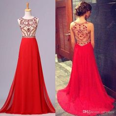 Red Beaded Prom Dresses Party Evening Gown
