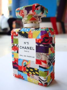 Patchwork decoupage Chanel bottle by the fabulously talented Squint Limited in Shoreditch, London. Coco Chanel, Chanel No 5, Chanel Paris, J Adore Parfum, Mademoiselle Coco, Mode Poster, Chance Chanel, Chanel Perfume, Couture Perfume