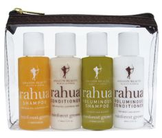 ahua The Jet Setter Kit    100% natural and organic. Cleanse, condition and create gorgeous, healthy hair. No matter where in the world you are. We've included the perfect experience sampling sizes of :    Go away! And come back with gorgeous hair. Packaged in a TSA beauty approved reusable pouch, perfect for a world traveler.    4 2-oz bottles$32.00