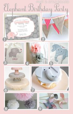 Girl Birthday Party Ideas | Pink and Gray Elephant Birthday