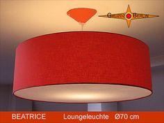 Loungeleuchte BEATRICE Ø 70 cm Pendelleuchte mit Diffusor Orange. Ein sonniges Orange bringt wunderbare Entspannung