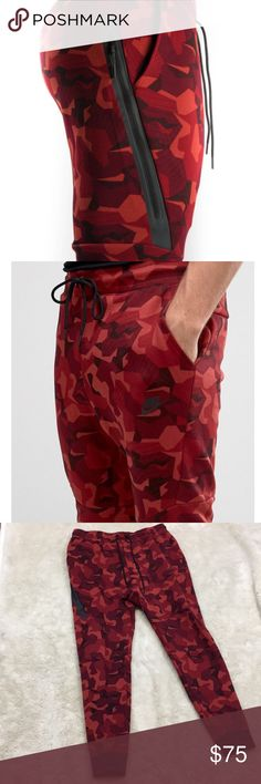 "Nike Fleece Tech Joggers in Red Camo Men's Nike Tech Fleece Joggers in Red Camo! Size Large. Excellent, like new condition. Inseam 30"". Nike Pants Sweatpants & Joggers"