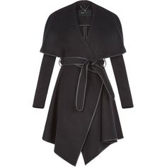 BCBGeneration Women's Cameron Black Wrapped Trench Coat (500 CAD) ❤ liked on Polyvore featuring outerwear, coats, jackets, belted coat, leather trenchcoat, wrap trench coat, leather coat and oversized trench coat