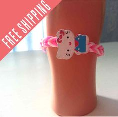 Hello Kitty hand made bracelet  you pick colors by nannasKnitneys, $4.99