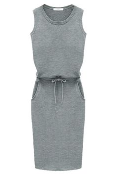 Grey Waist-Tie Sheath Dress