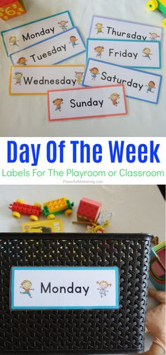 A super simple way to ensure toy rotation in the home or classroom. These day of the week labels are a free printable and useful for so many things! Activities For 2 Year Olds, Preschool Learning Activities, Free Preschool, Toddler Preschool, Preschool Ideas, Center Labels, Helping Children, Craft Stick Crafts, Raising Kids