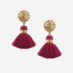 Image of EMMELINE Mini Bordeaux Tassel Earrings