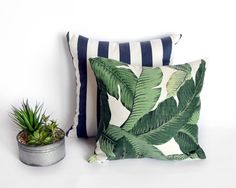 Navy and white stripe or Banana leaf -  decorative cover - stripe cover - Decorative Pillow - Euro sham Lumbar cover - tropical print