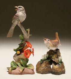 Boehm HP Porcelain Bird Figures Wren/Sparrow 2pc