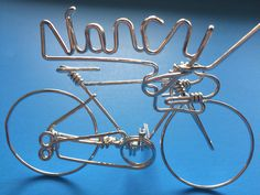 """Personalized cycling gifts for name """" Nancy """" - Handmade with single string metal wire"""