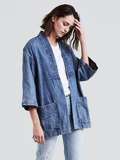 Levi's Annice Kimono Womens-Medium Authentic-S: Levi's Annice Kimono Womens. Denim kimono jacket with patch pockets. Kimono Outfit, Kimono Jacket, Kimono Fashion, Denim Fashion, Fashion Outfits, Ladies Fashion, Artisanats Denim, Denim Look, Coats For Women