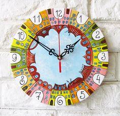 Город Yecho настенные часы Home Decor для детей Детские Малыш мальчик девочка Питомник игровая комната