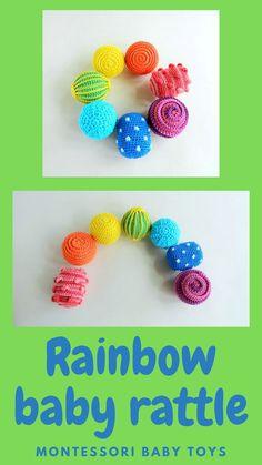 Rainbow baby rattle balls Montessori sensory toys Organic Baby Toys, Montessori Baby Toys, Crochet Ball, Rainbow Crochet, Baby Development, Kids Hands, Baby Rattle, Learning Colors, Sensory Toys
