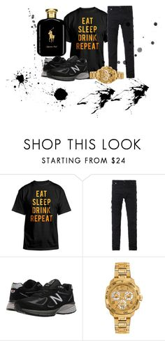 """""""Black List ☠!"""" by kingdiorx1 ❤ liked on Polyvore featuring Hybrid, Diesel, New Balance, Versace, Polo Ralph Lauren, men's fashion and menswear"""
