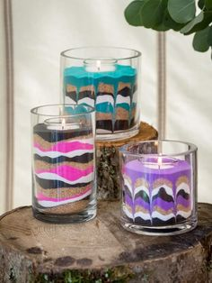 DIY: Sand Art Candles | HGTV Summer Camp >> http://www.hgtv.com/design/make-and-celebrate/handmade/easy-diy-sand-art-candles?soc=pinterest