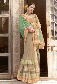 Beige and green designer saree with blouse - Desi Royale