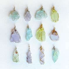 What a beautiful gift for Mom!!  Wire wrapped, cultured sea glass pendants. They are $4o each. You can find these and more on my website. Free US shipping and gift wrapping, too!