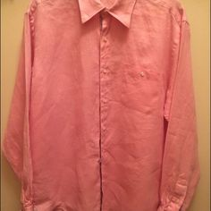 Beautiful pink linen Visconti This is a beautiful pink linen Visconti men's dress shirt. Size M. Lightly worn. Other